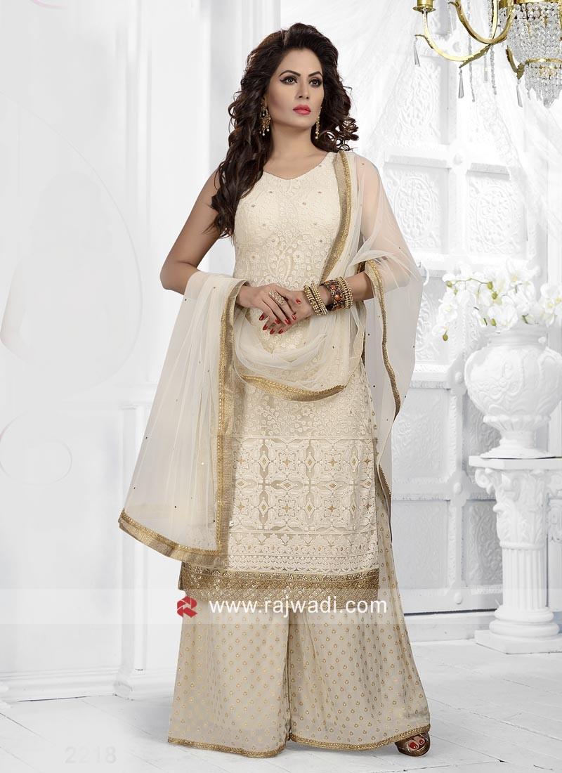 Resham Work Cream Gharara Suit