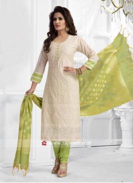 Resham work Cream Salwar Kameez