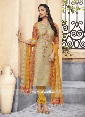 Resham Work Crepe Silk Churidar Suit