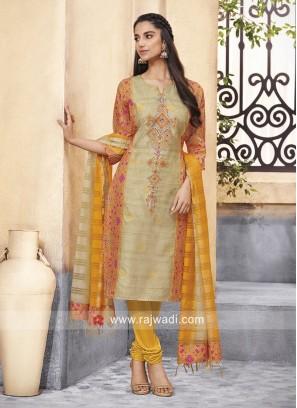 Resham Work Crepe Silk Churidar Suit