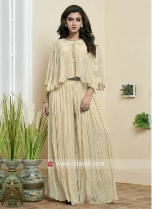 Resham Work Crop Top Palazzo Set