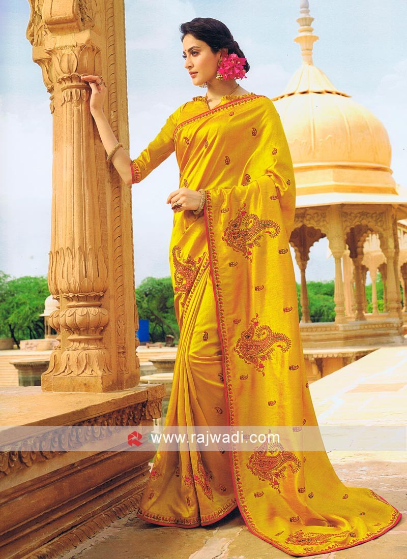 Resham Work Designer Saree