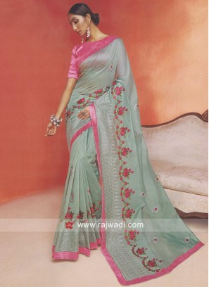 Resham Work Designer Saree