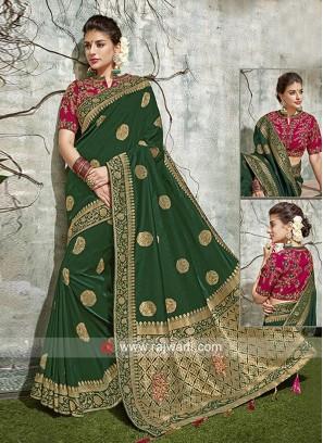 Resham Work Embroidered Saree