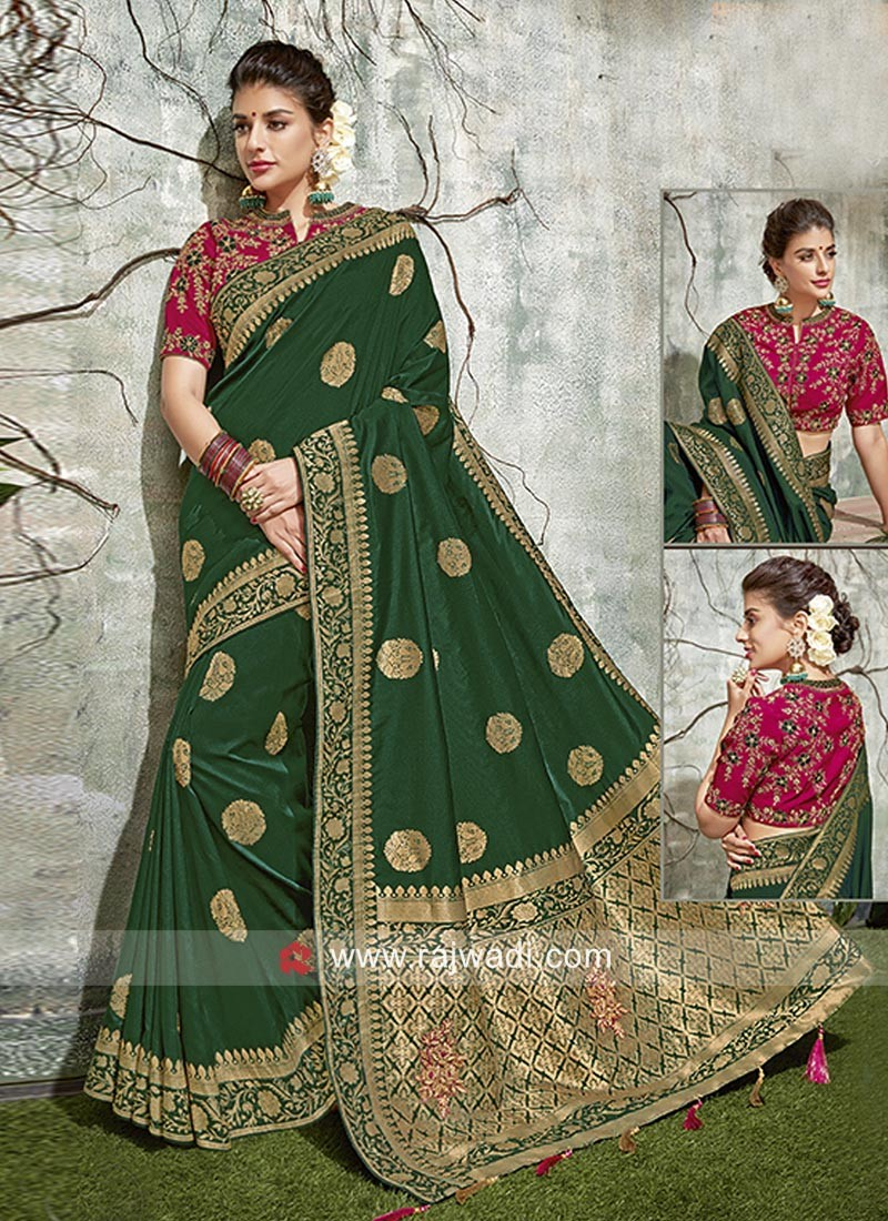 Resham Work Embroidered Saree