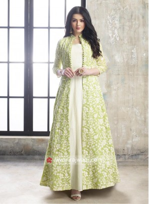 Resham Work Jacket Style Anarkali Dress
