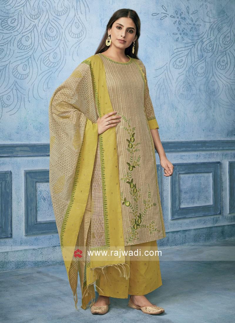 Resham Work Art Silk Palazzo Suit