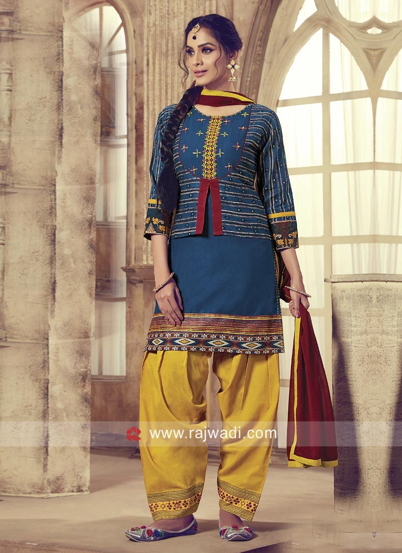 Resham Work Koti Style Patiala Suit