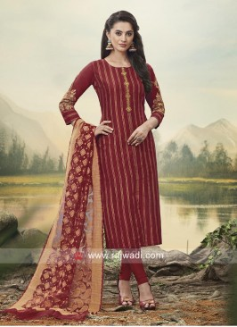 Resham Work Maroon Churidar Suit