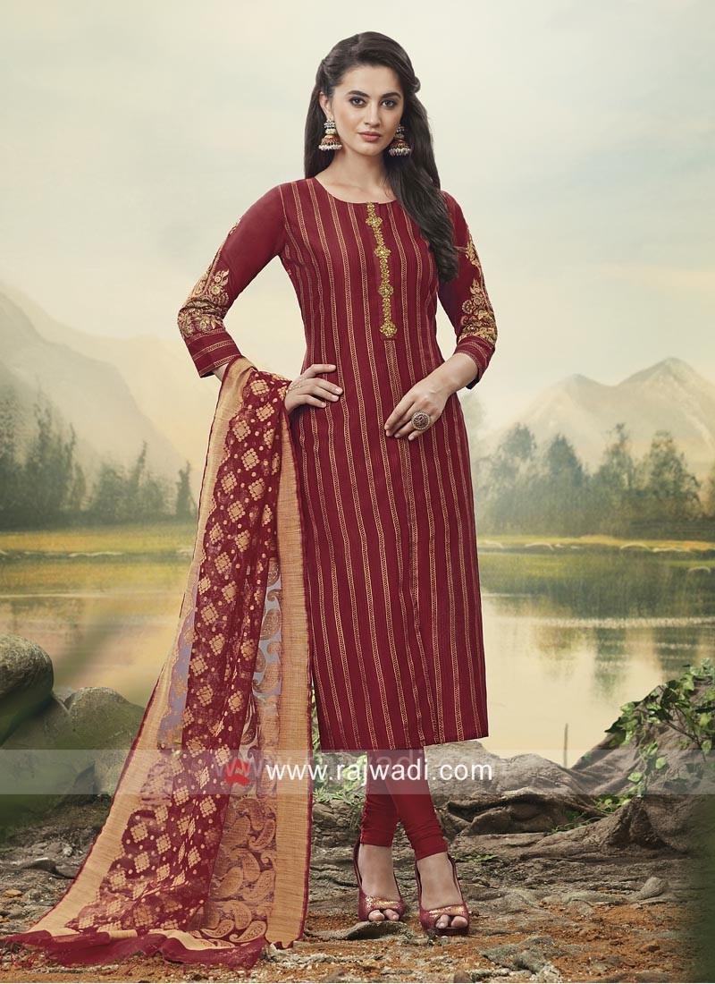 Resham Work Maroon Churidar Suit