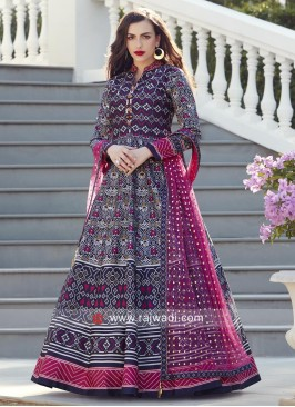 Attractive Multi Printed Anarkali Suit