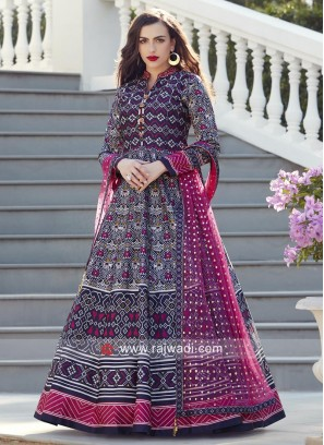 Resham Work Multi Printed Anarkali Suit