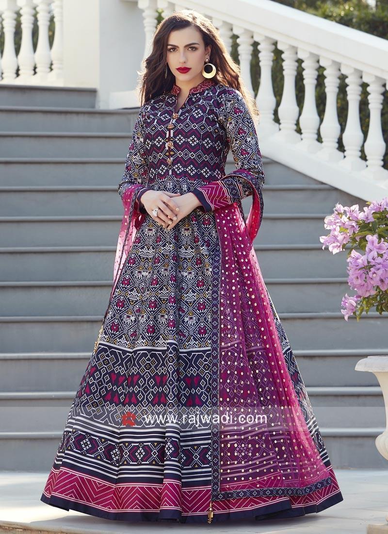 Attractive Multi Printed Anarkali Suit