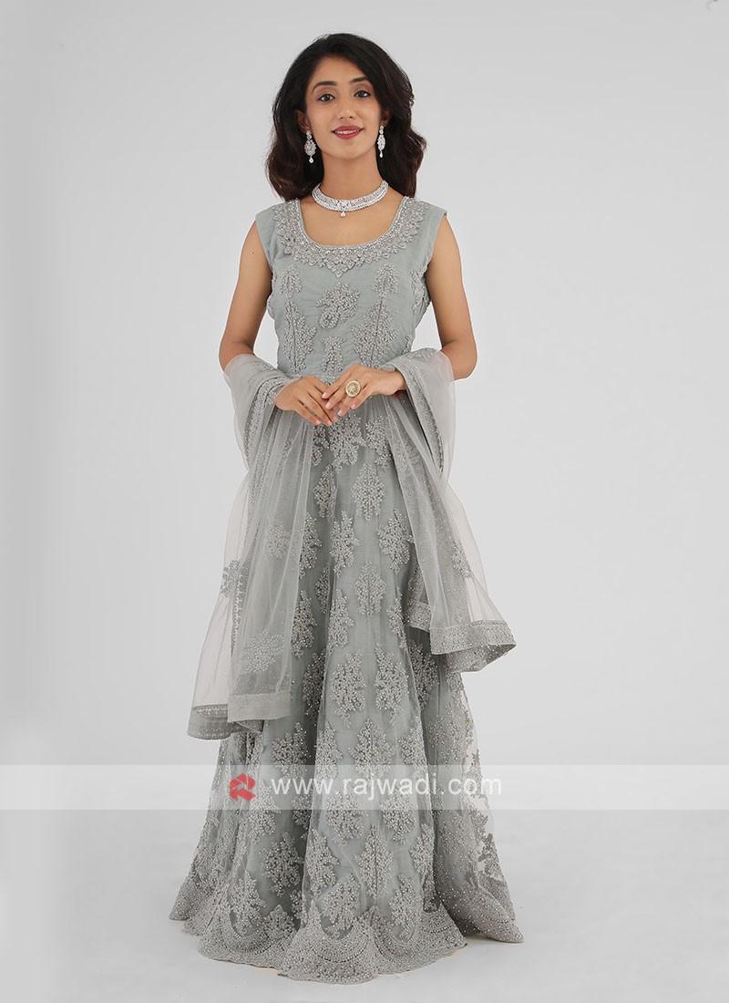 Resham Work Net Steel Blue Anarkali Suit