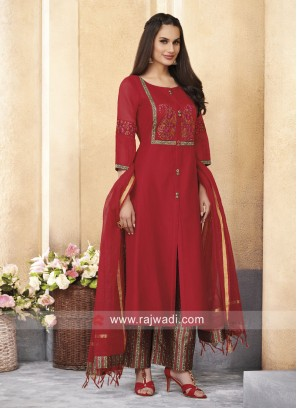 Resham Work Palazzo Suit with Buttons