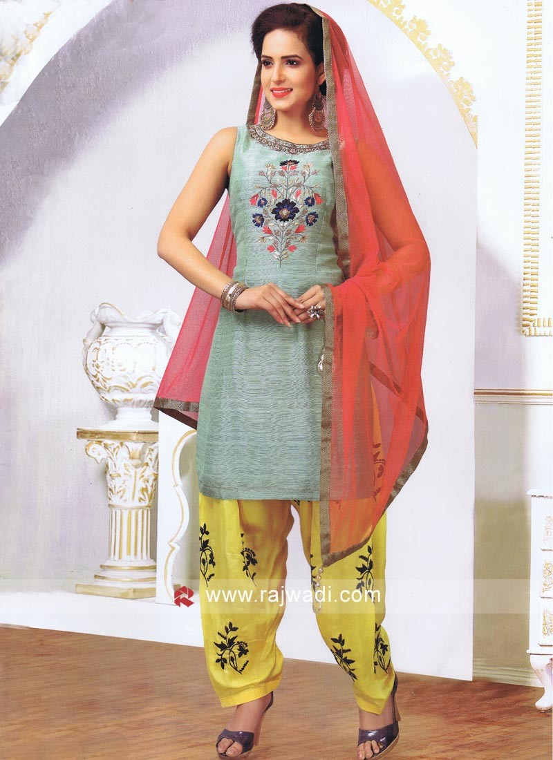 Resham Work Patiala Suit