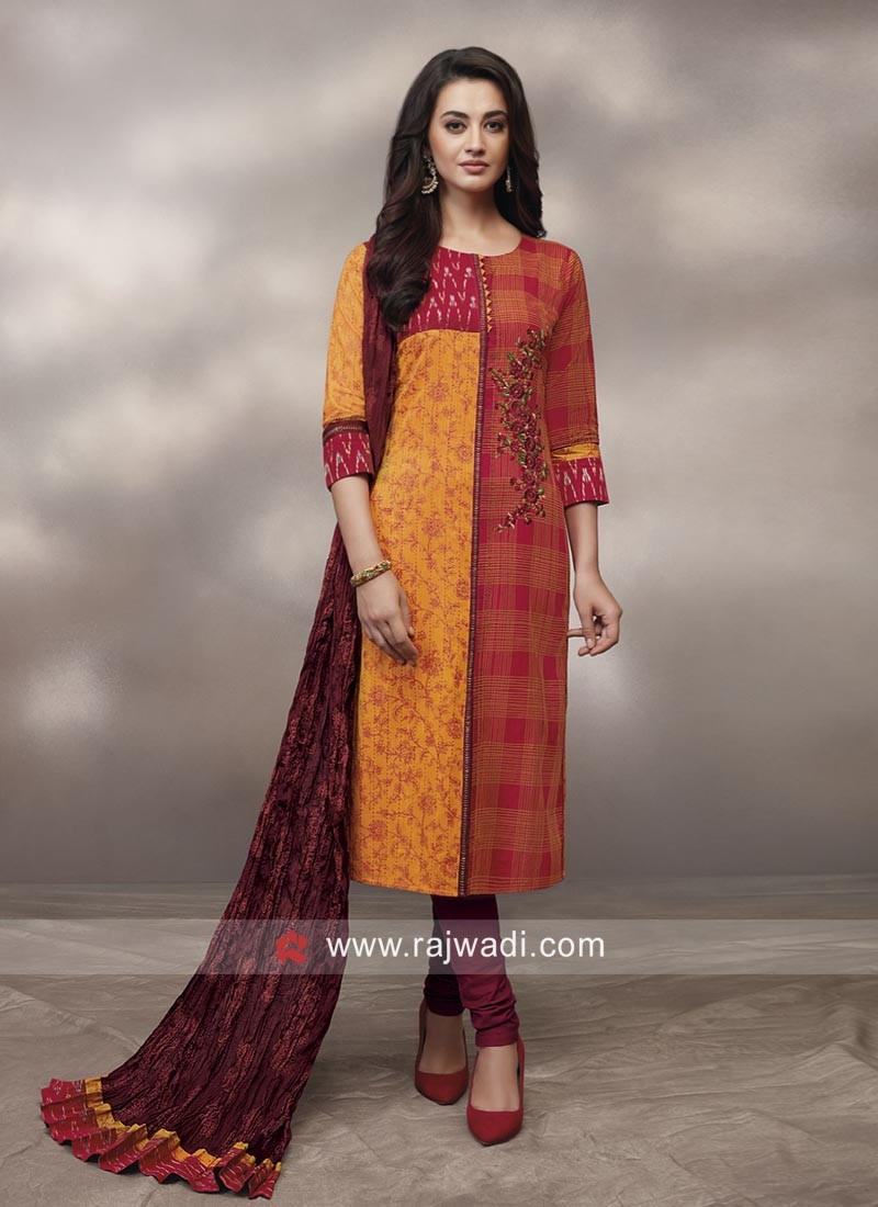 Resham Work Printed Churidar Suit