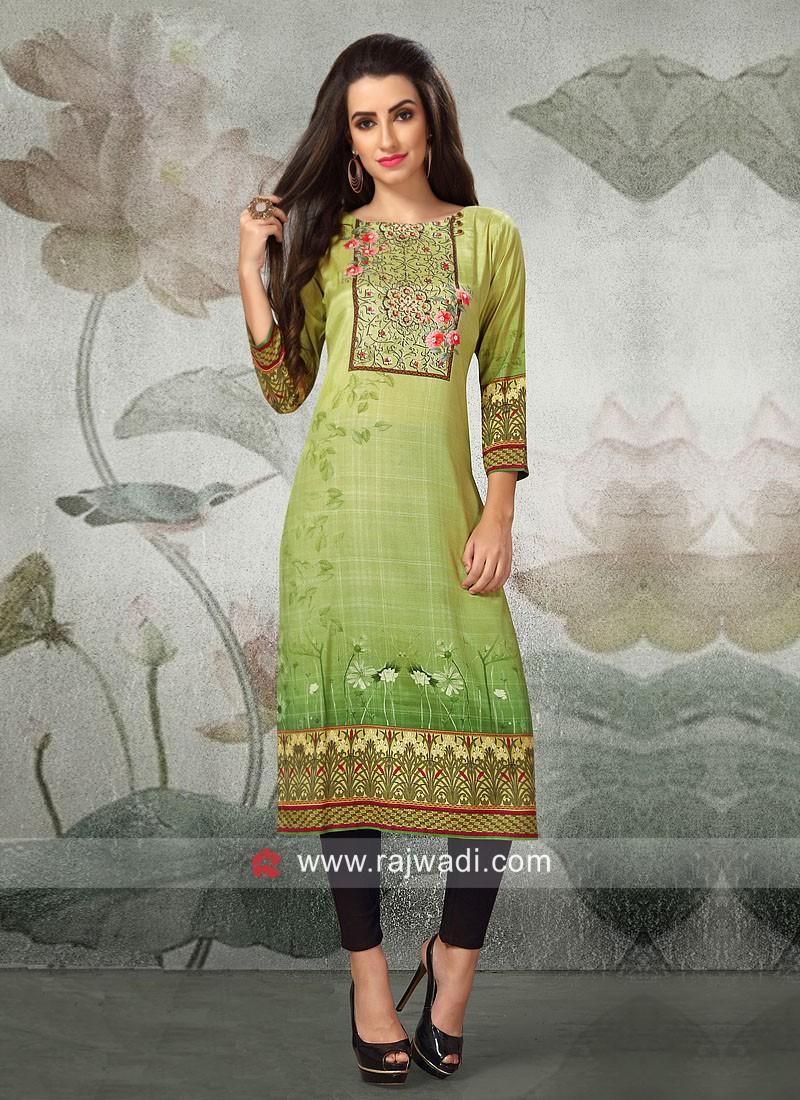 Resham Work Printed Kurti in Parrot Green