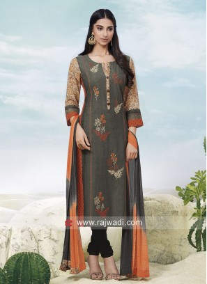 Resham Work Printed Suit with Buttons