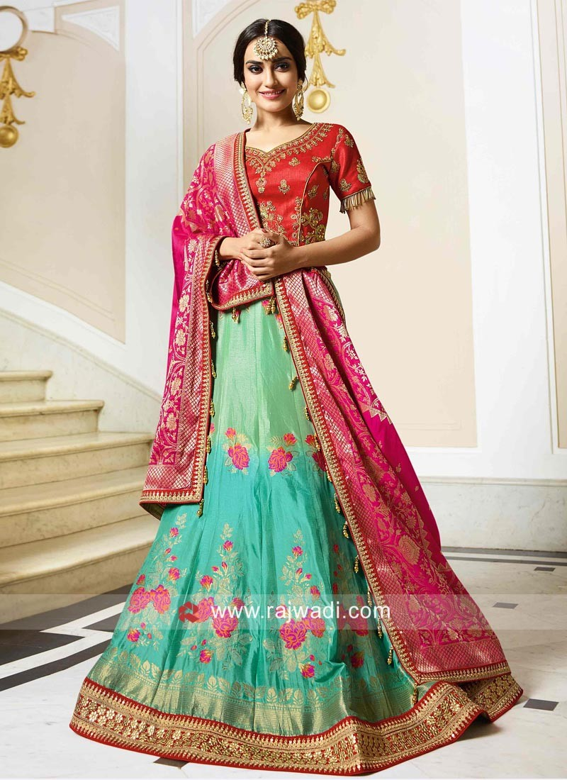 Resham Work Raw Silk A Line Lehenga