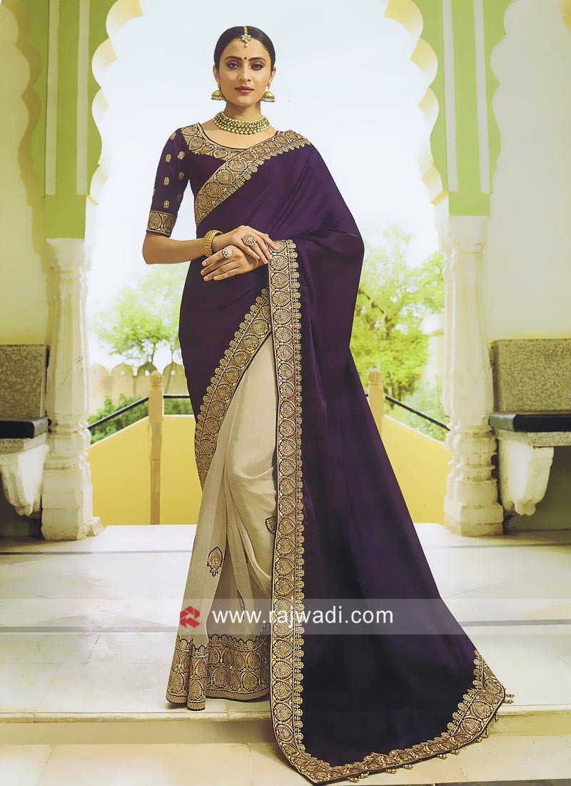 Resham Work Raw Silk Saree