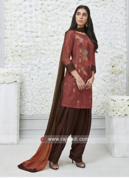 Resham Work Rayon Silk Patiala Suit