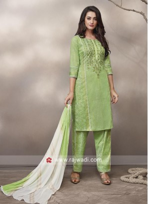 Resham Work Salwar Kameez in Pista Green
