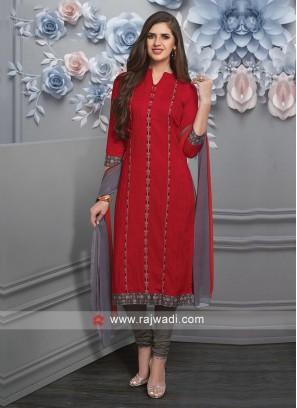 Resham Work Salwar Suit in Red