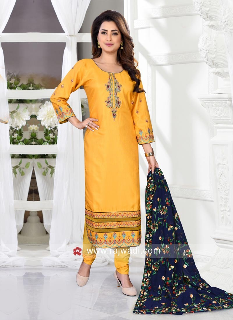 Resham Work Salwar Suit in Yellow