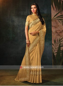 Resham Work Saree in Golden Cream