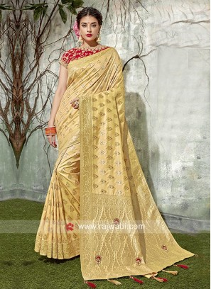 Resham Work Saree in Golden Yellow