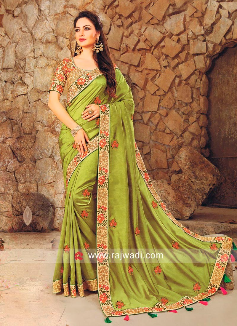 Resham Work Saree with Tassels