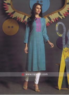 Resham Work Sea Green Kurti
