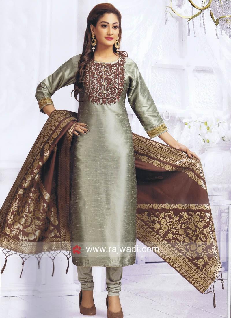 Resham Work Sea Green Salwar Suit
