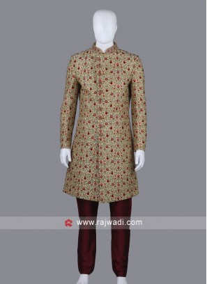 Resham Work Sherwani Suit