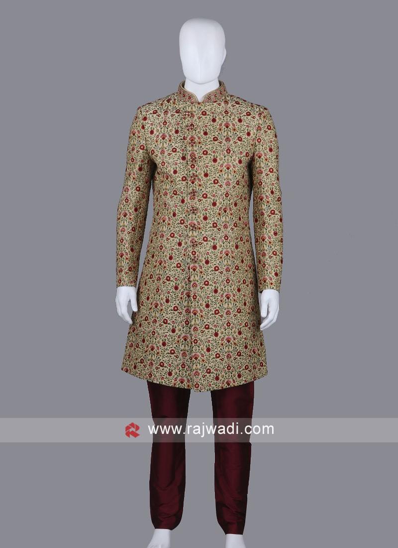 Resham Work Sherwani Suit
