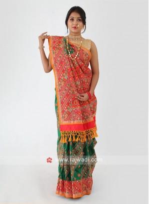 Resham Work Silk Saree