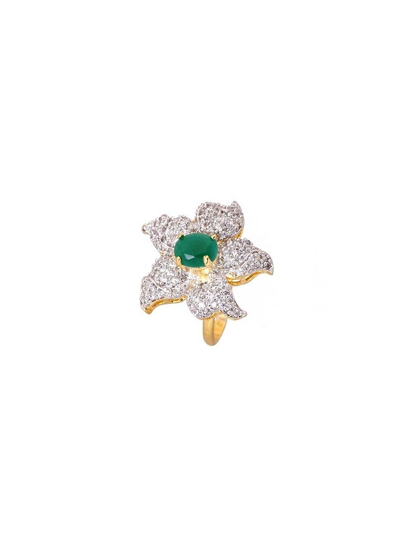 Rhodium Plated Green Stone Ring
