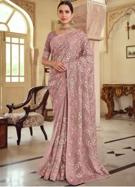 Riveting Georgette Satin Mauve  Bollywood Saree