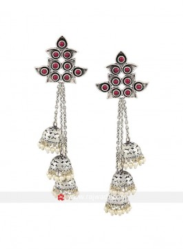 Rodium Plated Jhumka Earrings