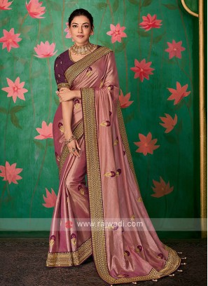 Rose Gold Color Saree