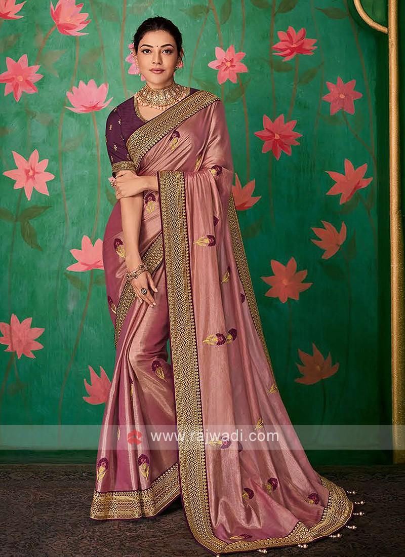 Rose Gold Color Saree