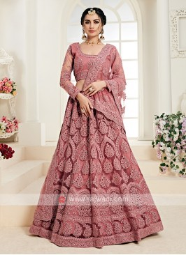 rose pink color lehenga choli