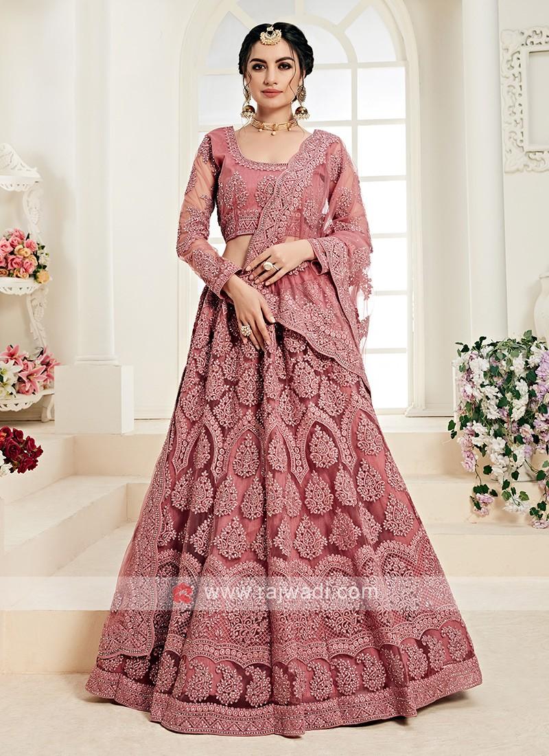 rose pink color lehenga choli