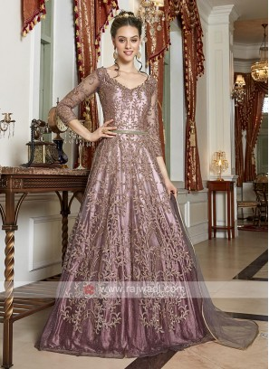 rosy brown color net gown style suit