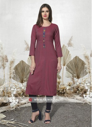 Rosy Brown Cotton Kurti