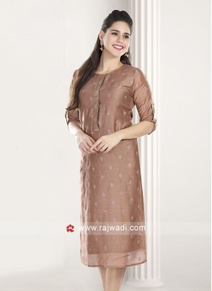 Rosy Brown Resham Work Kurti