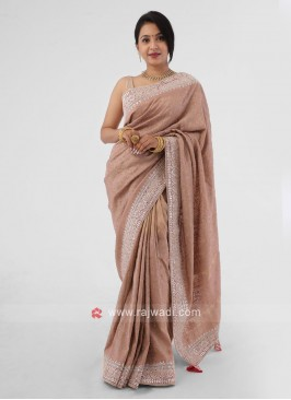 Rosy Brown Shimmer Silk Saree