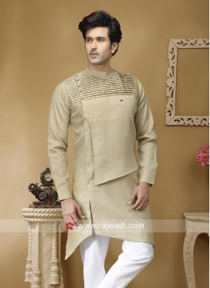 Round Neck Beige Color Kurta