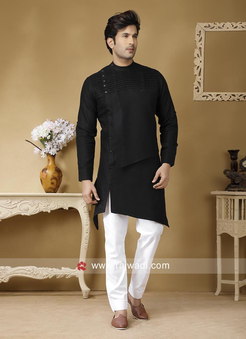 Round Neck Black Color Pathani Set